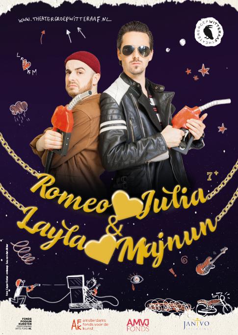 Amro Kasr Freek den Hartogh en Rosa Peters met de voorstelling Romeo is op Julia & Layla op Manjun van Witte Raaf. Jeugdtheater geschikt voor cultuureducatie van Buro Bannink. Kindertheater.