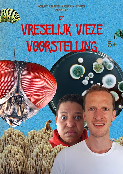 Flyer de Vreselijk Vieze Voorstelling jeugdtheater door Milan Boele van Hensbroek